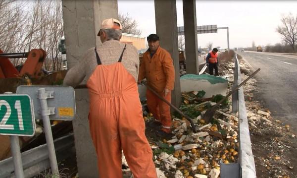 ТИР разпиля тонове портокали и лимони край Пловдив