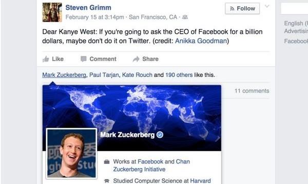 Зукърбърг отказа $1 милиард на Кание Уест