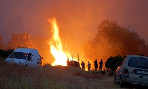 Цяла нощ пожарникарите се бориха с огъня в Сакар