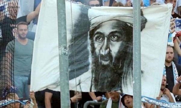 Навръх 9/11: Германски ултраси развяха портрета на Бин Ладен