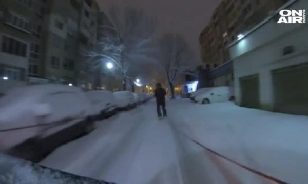Радостта на скиорите: И софийските улици – ски писта