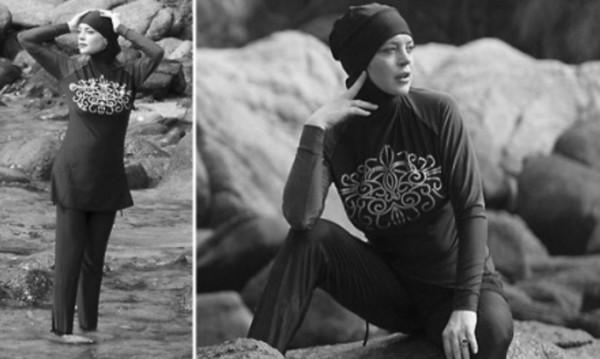С буркини  в морето – нова фотосесия на Линдзи Лоън