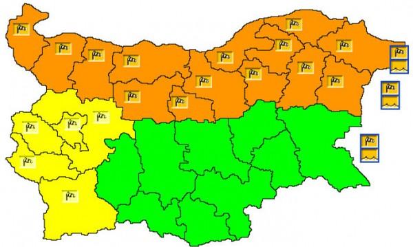 Предупреждение: Оранжев код за силен вятър в 14 области