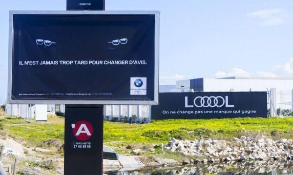 BMW vs. Audi: Забавната война на билбордовете