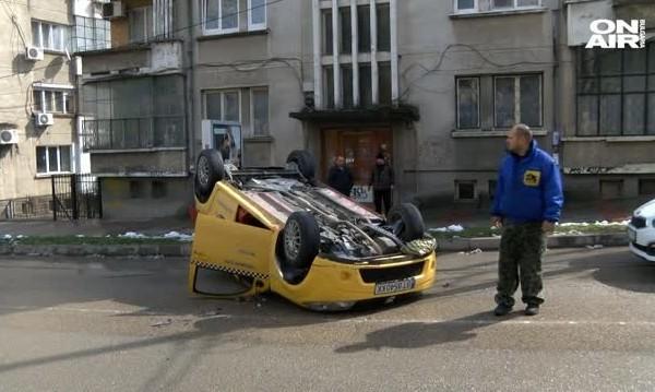 Висока скорост, удар... такси по таван в Търново