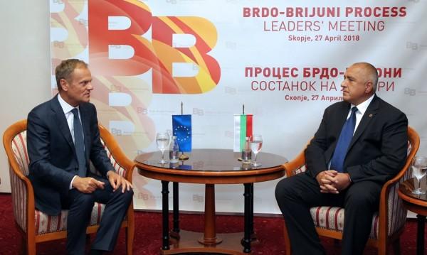Борисов се видя с Туск, обсъдиха срещата за Балканите