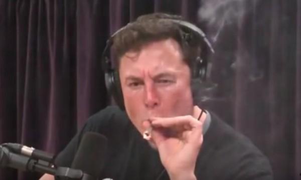 Мъск пуши марихуана, акциите на Tesla надолу