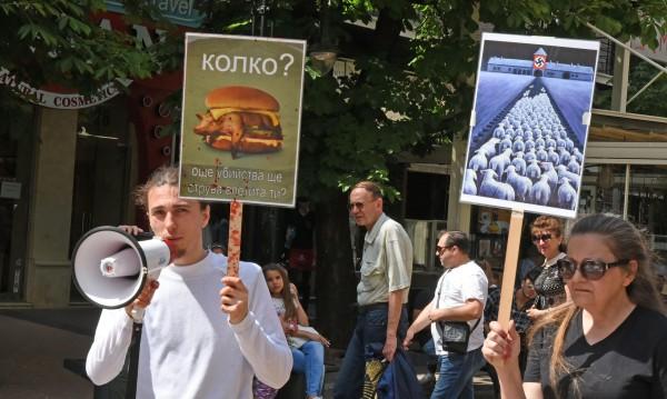 Веганите на протест: Спрете опитите с животни!
