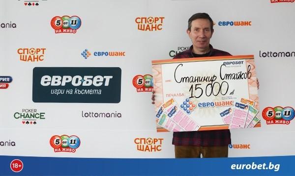 """Страхотен късмет! 15 000 лева печалба от """"Еврошанс"""" в София"""