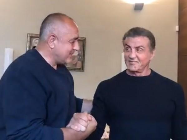Премиерът Бойко Борисов проведе приятелски разговор със Силвестър Сталоун в