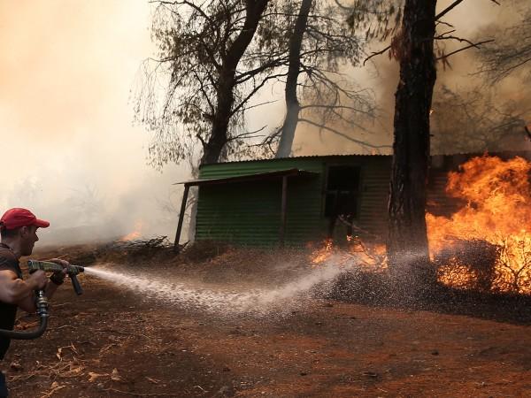 Горски пожар бушува на популярния сред туристите гръцки остров Кефалония.