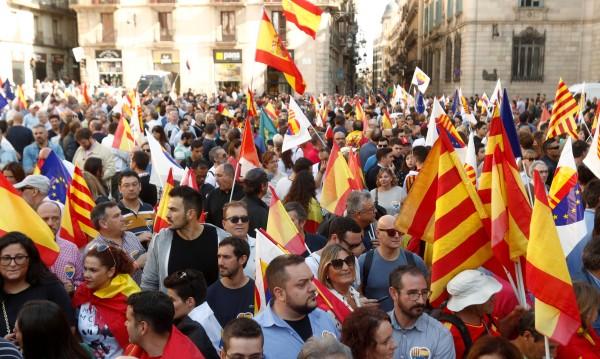 Противници на отделянето на Каталуния от Испания се събраха в Барселона