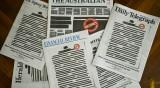Пресата в Австралия със задраскани думи на първа страница