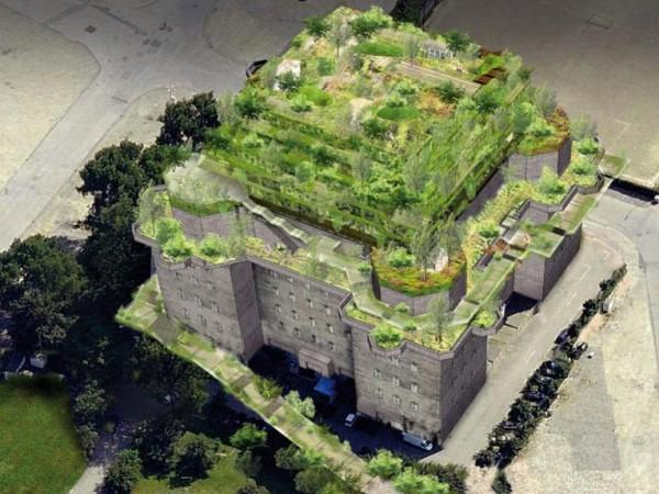 Бивш нацистки бункер в Хамбург, построен от затворници, който е