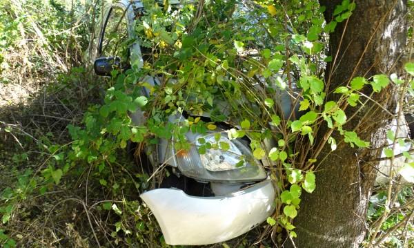 Шофьор без книжка се блъсна в дърво до гробище