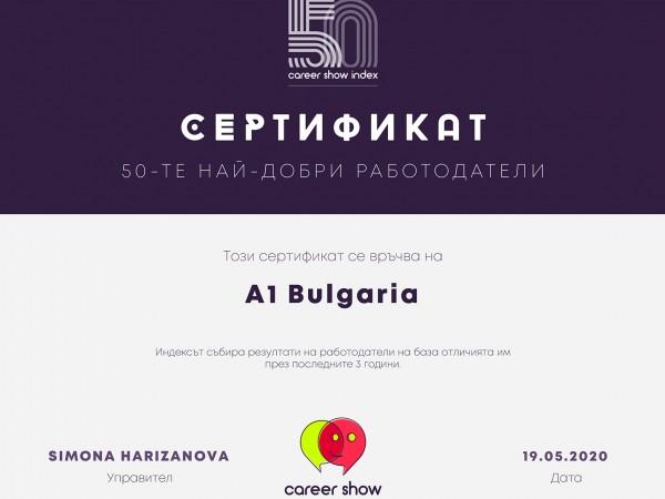 А1 България е на първо място сред 50-те най-добри работодатели