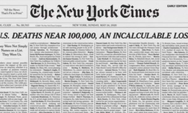 """""""Ню Йорк таймс"""" отпечата 1000 имена на загинали от коронавирус"""