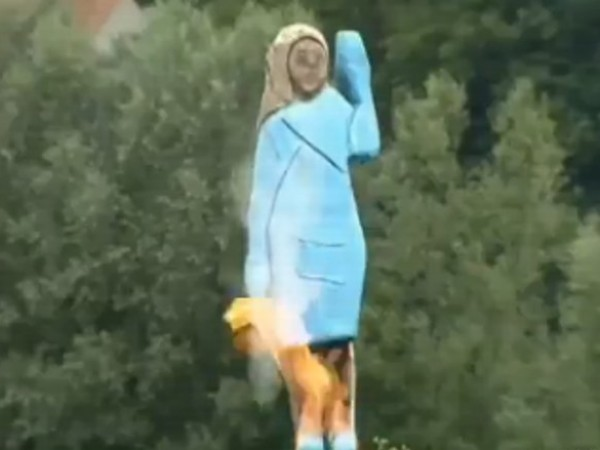 Statue of Melania Trump set on fire in Slovenia Here