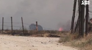 На борба с огнената стихия: Пожарът в Хасковско се разраства