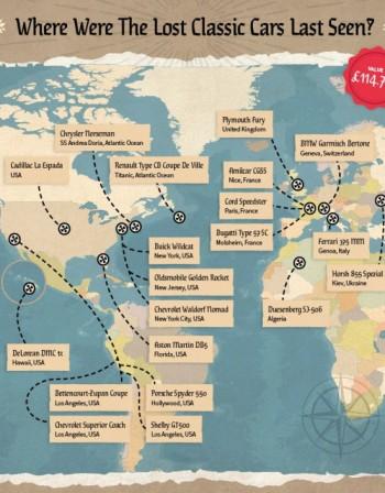 Карта на автосъкровищата разкрива къде са се изгубли най-известните коли