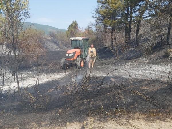 Пожар е изпепелил над 100 декара гори и лозови масиви