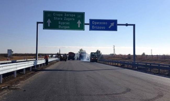 """Ремонтът на 12 км от """"Тракия"""" готов до края на месеца"""