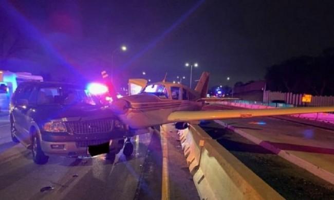 Като на кино: Самолет кацна аварийно на шосе, блъсна кола