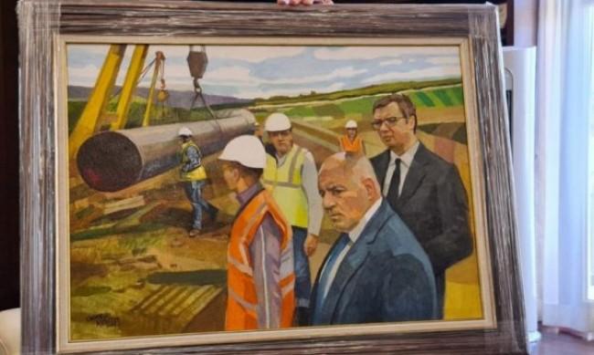 """Борисов, Вучич, """"Балкански поток"""" - увековечени в картина"""