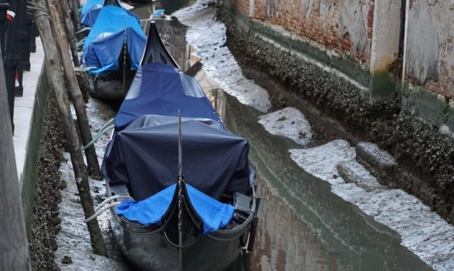 """Заради """"ниската вода"""" каналите на Венеция пресъхнаха"""