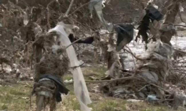 Тонове боклуци по бреговете на река Места
