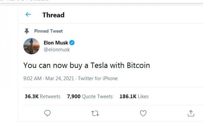 Мъск започна да приема биткойн за покупка на Tesla