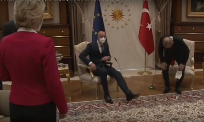 Случайно ли? Ердоган прие Урсула фон дер Лайен без да ѝ предложи кресло