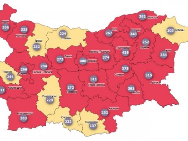 Общо 20 области попадат в червената COVID зона (между 250