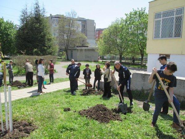 Акция по залесяване на училищния двор