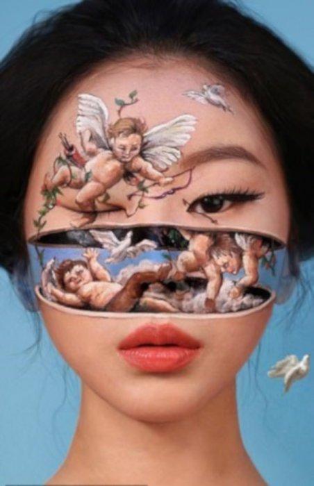 Корейка създава визуални илюзии с грим